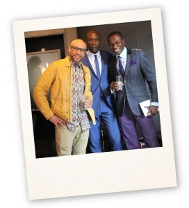 Dej with actor and musician, Goldie, and Saville Row designer, Ozwald Boateng.
