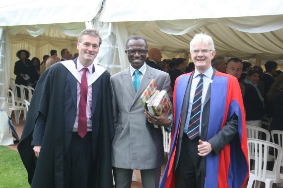 Guest speaker, Dej Mahoney, with Headmaster, Jay Piggot, and Chairman of Governors, Dr Andrew Vallance-Owen